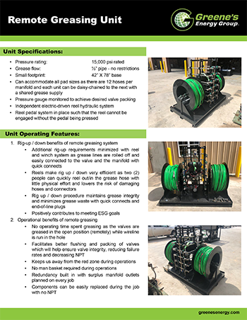 Remote Greasing Unit